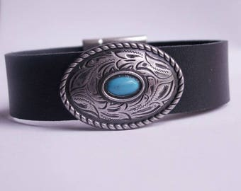 "Black leather bracelet ""Oval Concho with turquoise stone"""