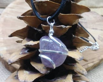 Amethyst Crystal Necklace, Amethyst Necklace, February Birthstone Stone Necklace, Healing Necklace, Crown Chakra Necklace, Reiki Necklace.