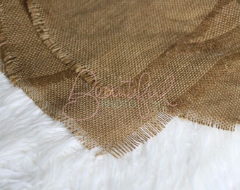 Light Brown Burlap Layering Blanket Natural Organic Newborn Photography Prop