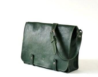 full grain green leather messanger, briefcase, Laptop satchel, custom Monogram bag
