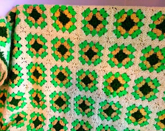 Vintage Granny Square Afghan Crocheted 1970's Neon Funky Colors 60X60 Retro Afghan Throw Mod Colors 1960's 1970s Mod Afghan