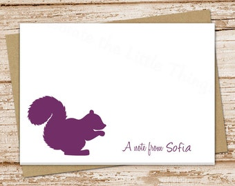 squirrel personalized note cards notecards . folded personalized stationery stationary. silhouette woodland forest . set of 8