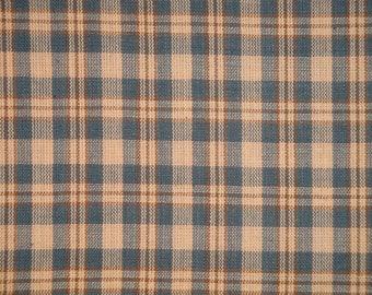 Blue Plaid Fabric | Cotton Homespun Fabric | Blue, Khaki And Natural Small Plaid  Fabric | Primitive Plaid Fabric | Cotton Sewing Fabric