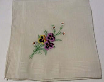 Handkerchief, vintage handkerchief, vintage hanky, embroidered pansies hanky, floral handkerchief