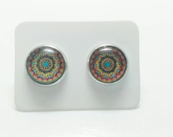 Orange and pink mandala stainless steel stud earrings - 10mm mosaic pattern post earrings
