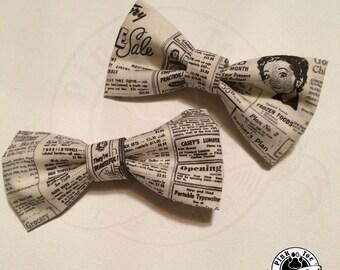HAIR BOW Retro Newspaper // Typography Fabric // Clip on Bow Tie // wedding attire
