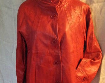 Marc A. Dolci Leather Jacket Tomato Red XL