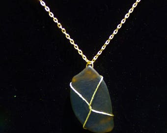 Imitation Sea Glass Wire Wrapped Pendant