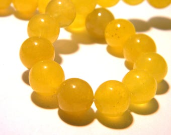 6 jade beads 10 mm - translucent - gem stone - yellow - F160