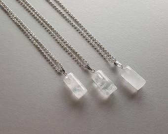 White Quartz Necklace. Silver Quartz Necklace. Chain Necklace. Minimalist Necklace. Gemstone Pendant Necklace. Delicate Necklace. Crystal.