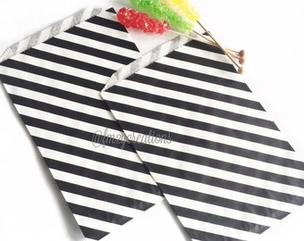 LARGE Black Stripe Favor Bag | BLACK Stripe Paper Bags (6.25 x 9.25) |  Black Favor Bags | Carnival Party Favors | Kids Birthday Favors