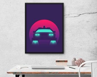 DeLorean DMC-12 Back To The Future Car Movie Poster Art Print