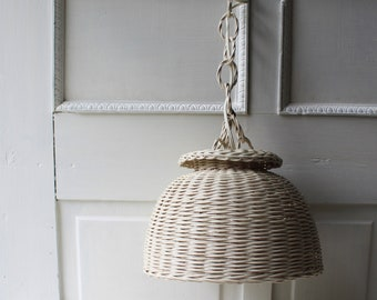 Wicker Pendant Light - Hanging White Wicker Light