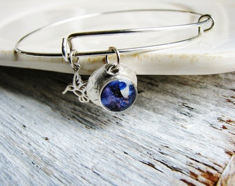 Adjustable Bangle with Small Blue Focal Drop and Hummingbird Charm, Expandable Bracelet with Charms, Silver Bracelet, Silver Bangle