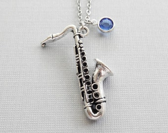 Saxophone Necklace, Sax, Wind Instrument, Jazz, Band, Music, BFF, Friend Birthday Gift, Silver Jewelry, Swarovski Channel Birthstone Crystal
