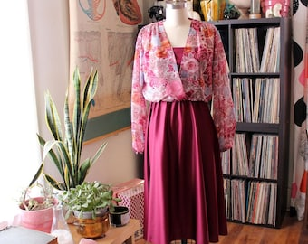 1970s dress, maroon with sheer floral blouson top and flowy skirt . womens medium large