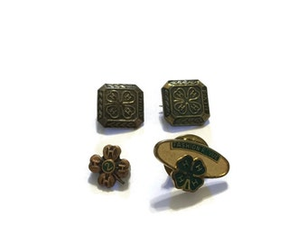4H Pin Set, 4 H Brooch, Clover, Fashion Revue, Club, Organization,