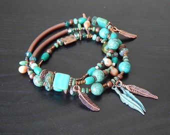 Turquoise and copper beaded wrap bracelet - beaded convertible necklace or bracelet -  southwestern style copper feathers layering bracelet