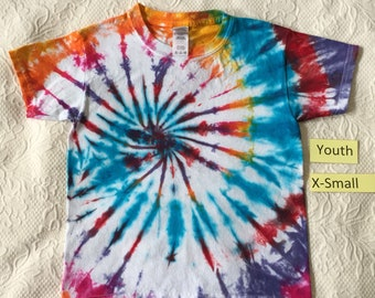 Youth X-Small Multi-Color Spiral Short Sleeve Tie Dye T-Shirt