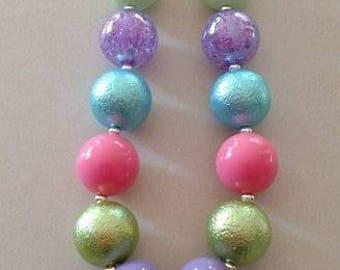 Birthday girl chunky bead necklace