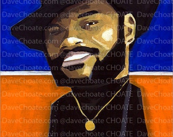 Photo print from an original painting of the NBA, New York Knicks, Clyde Frazier