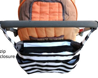 stylish pram caddy / stroller organiser / wheelchair bag /shoulder bag/ pram bag with flap close or zipper close- Black and white stripes