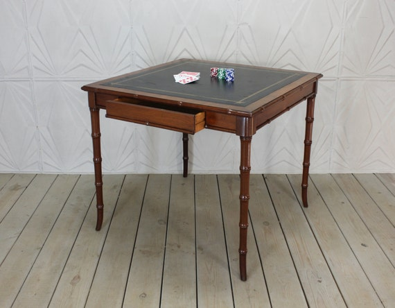 Vintage Faux Bamboo Leather Top Game Card Table Hollywood