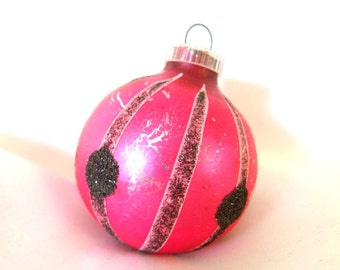 Vintage Christmas Ornament, Hot Pink with Black Spot and Stripes Holiday Ornament from West Germany