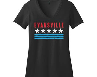 Evansville Pride. Womens V-Neck Slim Fit Black Tee. Evansville, Indiana, America, USA - Red, White & Blue / Fourth of July Tshirt