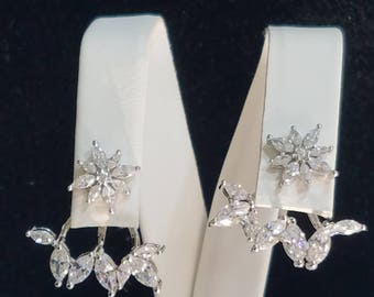 Sterling silver and CZ ear jackets,