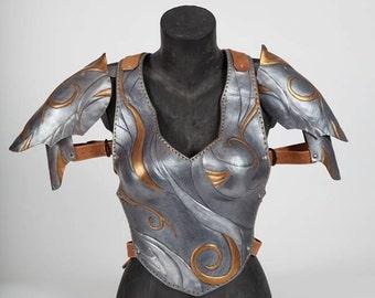 Female leather Armor, Female pauldron, Coirass female armor, vintage female armor