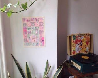 Dream Cabin Riso Print