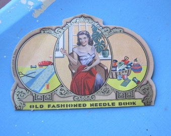 1930s-40s Old Fashioned Needle Book; Alluring Vintage Noir Temptress/Housewife Graphic Sewing Needles; U.S. Shipping Included