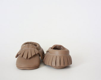Taupe Leather Baby Moccasins