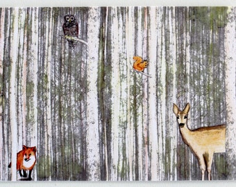 Woodland Greetings Card with Envelope - blank inside
