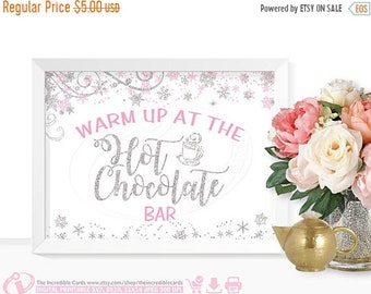 ON SALE Hot Chocolate Bar, Pink & Silver, Hot Cocoa Party, Baby shower, Bridal Shower, Winter Onederland Party Table Decoration, INSTANT Dow