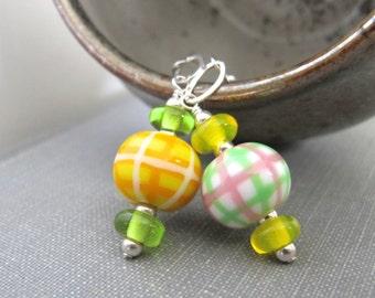 Silver Earrings, Plaid Glass, Glass Earrings, Plaid Earrings, Silver Chain, Orange Plaid, Green Plaid, Silver Jewelry, Lampwork Glass,