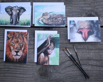 Set of 5 Blank Cards - Animal Paintings