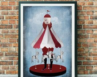 Carousel Art Print   Pop Surrealism Art   A3 Art Print    Pop Surrealism   Merry Go Round Art Print   Carousel