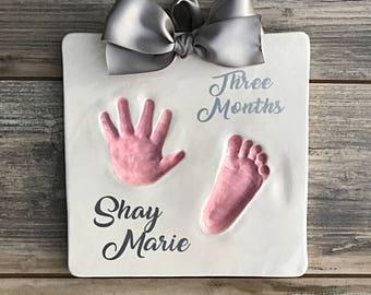 DIY Hand Print Kit - Baby Footprints - Personalized Newborn Heirloom Handprints - Custom Baby Memories Keepsake - Baby Girl Print Kit - Baby