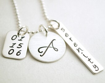 Sobriety Anniversary - Serenity Necklace - Custom Initial Necklace for Women Hand Stamped Serenity Jewelry Recovery Gift