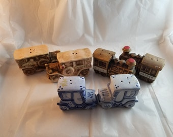 Set of three vintage salt and pepper shakers from japan