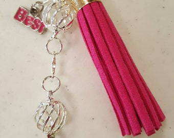 Pink Peace Sign Purse Charm