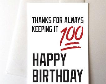 100 Emoji Birthday Card