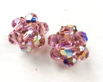 Pink Crystal Earrings - Clip On Earrings - 1940s Pink Crystal Earrings - Crystal Cluster Earrings - 1940s Women's Jewelry - Vintage Jewelry
