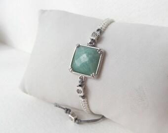 Amazonite Macramé Bracelet, White & Grey  Macrame Bracelet, adjustable bracelet, Antique Silver cord bracelet - unique design