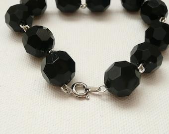 nbc-Black Faceted Chain Bracelet