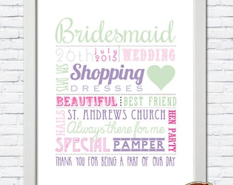 NEW! Personalised Bridesmaid, Maid of Honour, Wedding, Favours, Thank You Gift, Memory Word Art Print