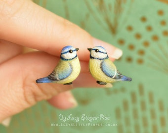 Tiny Hand-Sculpted Blue tit Stud Earrings
