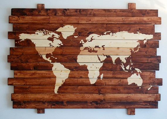 Extra large rustic world map stained wall art on distressed extra large rustic world map stained wall art on distressed solid wood 50 x 35 gumiabroncs Image collections
